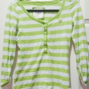 Abercrombie&Fitch Green White Striped Tee